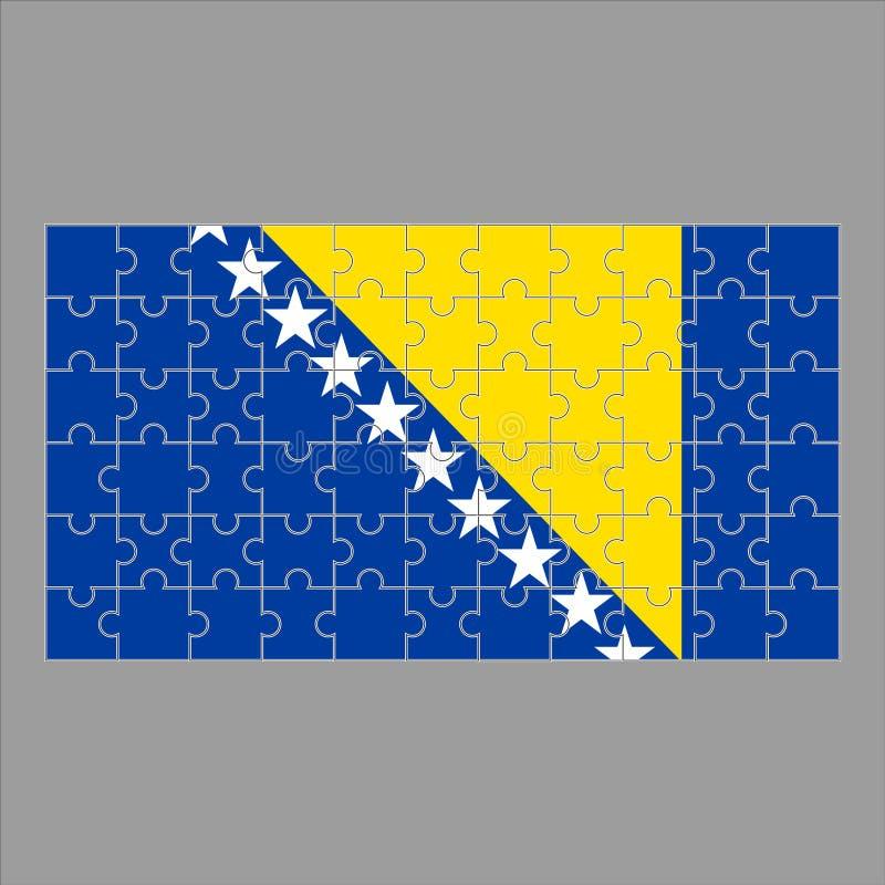 Флаг Боснии и Герцеговины головоломки на серой предпосылке иллюстрация вектора