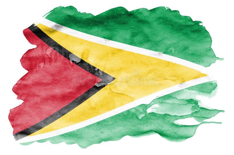 Флаг Гайаны показан в жидкостном стиле акварели изолированный на белой предпосылке иллюстрация вектора