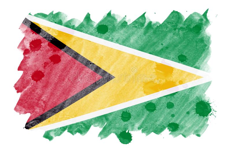 Флаг Гайаны показан в жидкостном стиле акварели изолированный на белой предпосылке бесплатная иллюстрация