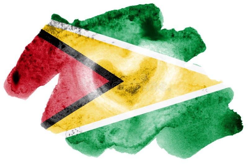 Флаг Гайаны показан в жидкостном стиле акварели изолированный на белой предпосылке иллюстрация штока