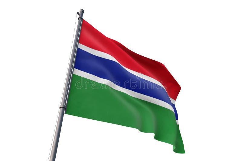 Флаг Гамбии развевая изолированная белая иллюстрация предпосылки 3D иллюстрация вектора