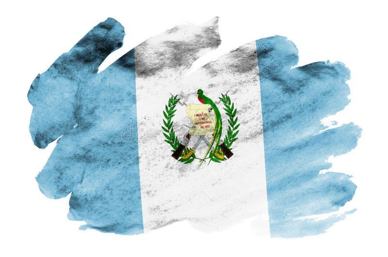 Флаг Гватемалы показан в жидкостном стиле акварели изолированный на белой предпосылке иллюстрация штока