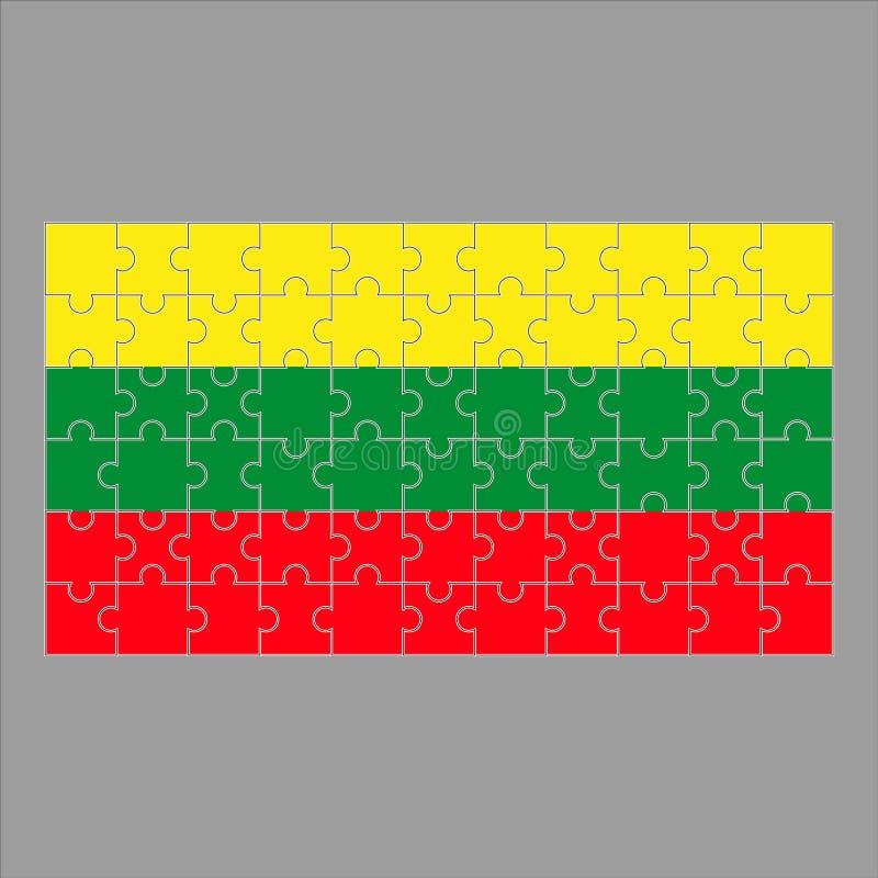 Флаг головоломки Литвы на серой предпосылке иллюстрация вектора