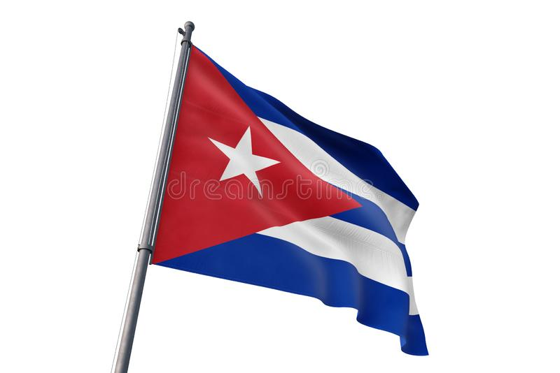Флаг Кубы развевая изолированная белая иллюстрация предпосылки 3D иллюстрация вектора