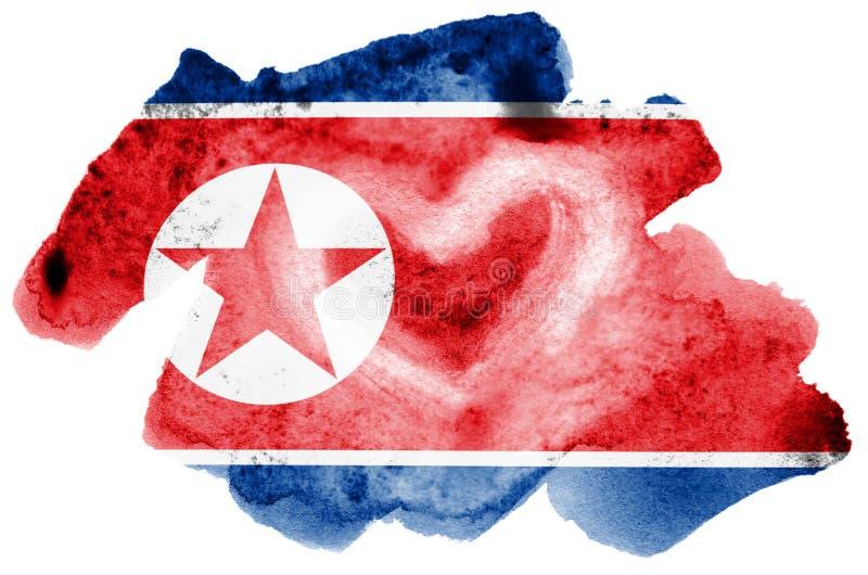 Флаг Корейской Северной Кореи показан в жидкостном стиле акварели изолированный на белой предпосылке иллюстрация вектора