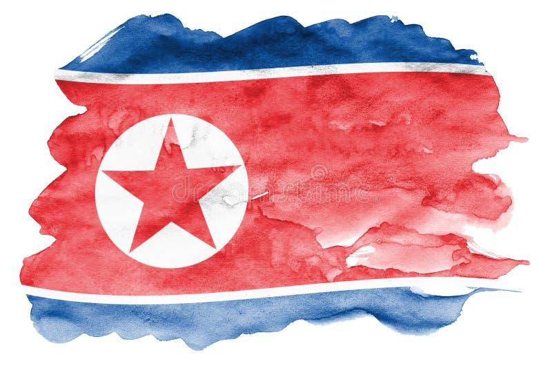 Флаг Корейской Северной Кореи показан в жидкостном стиле акварели изолированный на белой предпосылке бесплатная иллюстрация