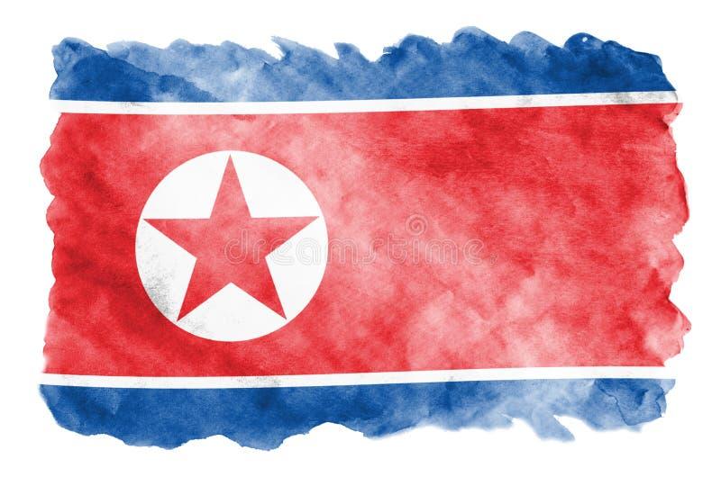 Флаг Корейской Северной Кореи показан в жидкостном стиле акварели изолированный на белой предпосылке иллюстрация штока