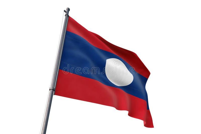 Флаг Лаоса развевая изолированная белая иллюстрация предпосылки 3D бесплатная иллюстрация