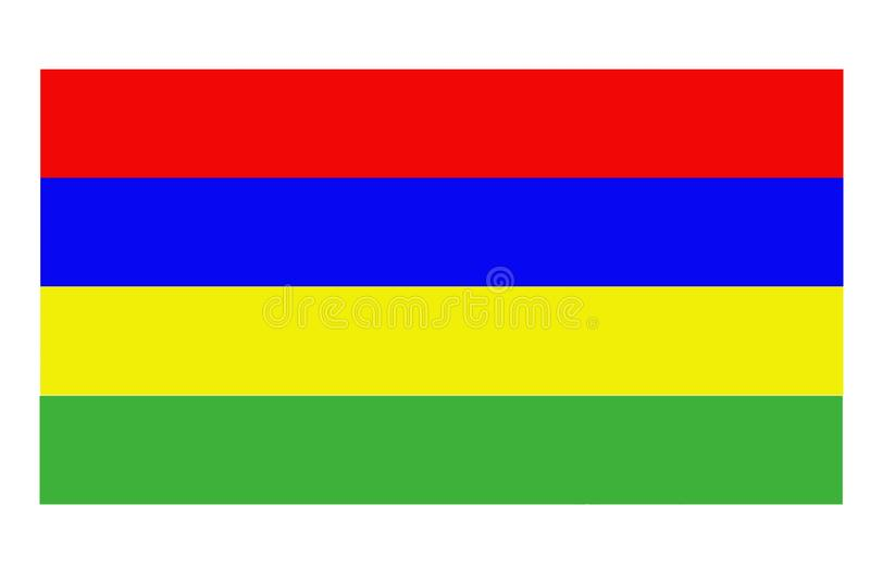 Флаг Маврикия развевая против чистого голубого неба, конца вверх, изолированного с прозрачностью канала альфы маски пути клиппиро иллюстрация вектора
