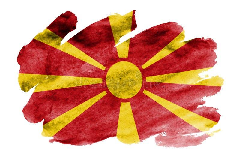 Флаг Македонии показан в жидкостном стиле акварели изолированный на белой предпосылке бесплатная иллюстрация