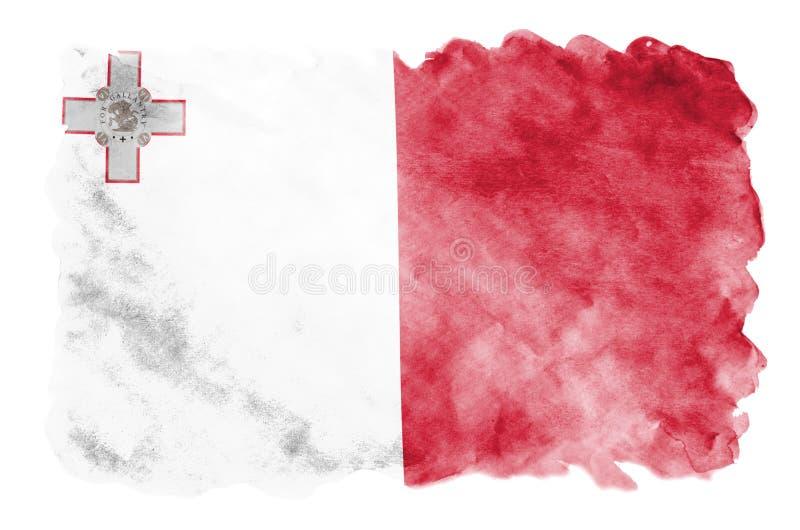 Флаг Мальты показан в жидкостном стиле акварели изолированный на белой предпосылке бесплатная иллюстрация