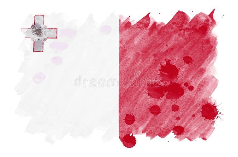 Флаг Мальты показан в жидкостном стиле акварели изолированный на белой предпосылке иллюстрация штока