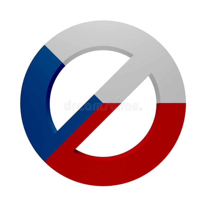 Флаг покрашенный знаком чех запрета иллюстрация вектора