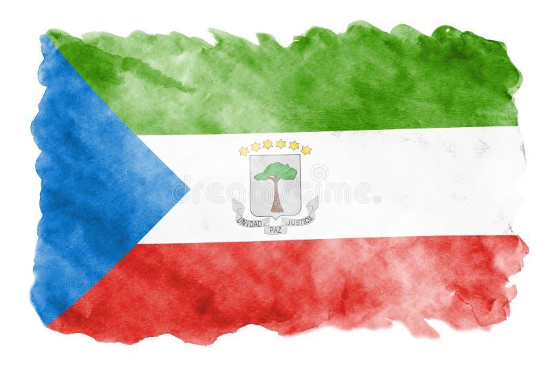 Флаг Экваториальной Гвинеи показан в жидкостном стиле акварели изолированный на белой предпосылке бесплатная иллюстрация