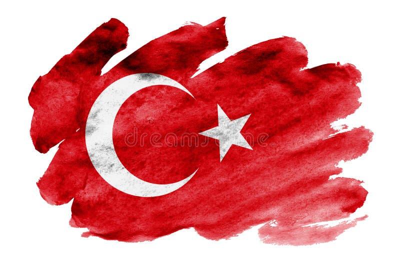 Флаг Турции показан в жидкостном стиле акварели изолированный на белой предпосылке иллюстрация штока