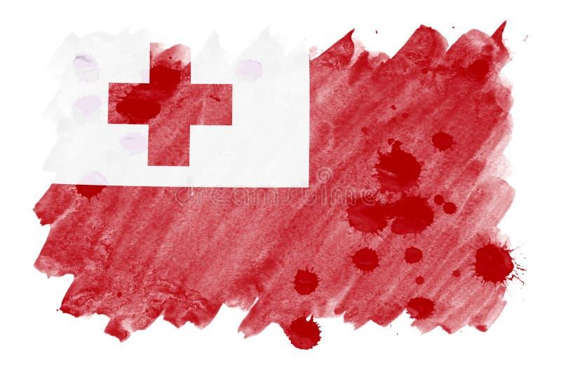 Флаг Тонги показан в жидкостном стиле акварели изолированный на белой предпосылке иллюстрация вектора