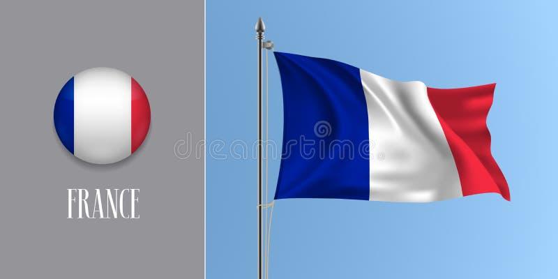Флаг Франции развевая на флагштоке и круглой иллюстрации вектора значка иллюстрация вектора
