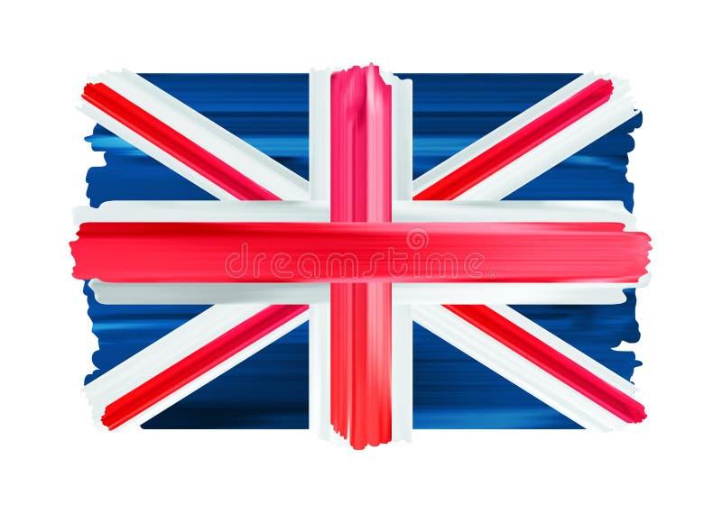 Флаг щетки Великобритании красочными покрашенный ходами иллюстрация штока