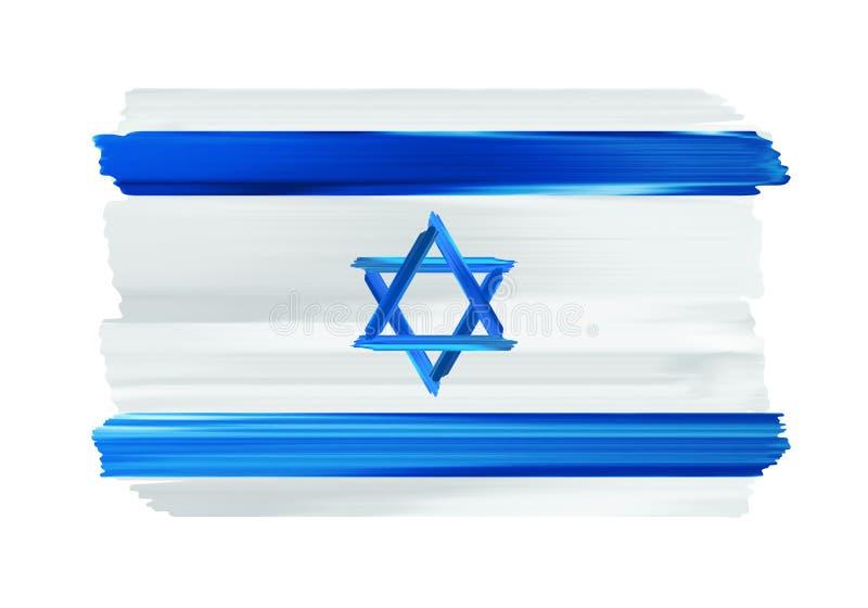 Флаг щетки Израиля красочными покрашенный ходами иллюстрация штока