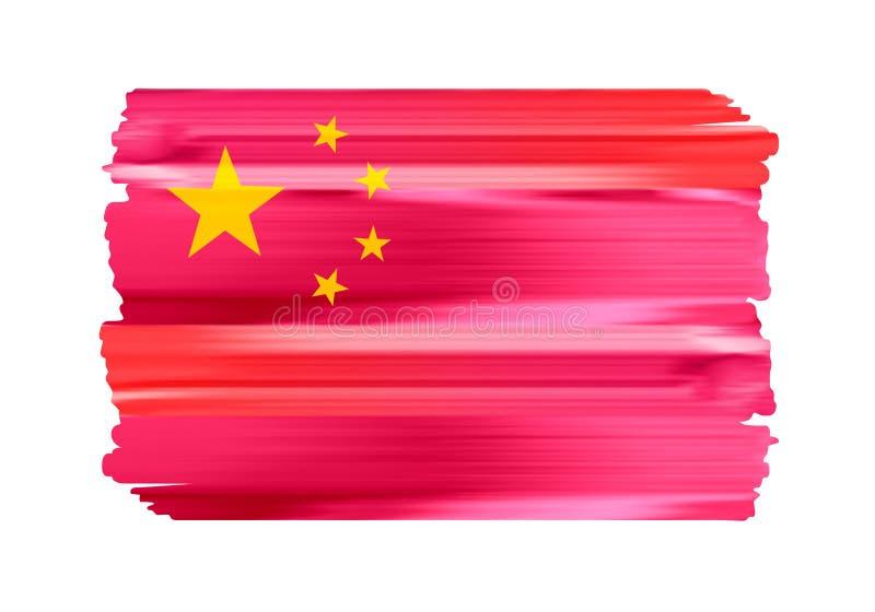 Флаг щетки Китая красочными покрашенный ходами иллюстрация штока