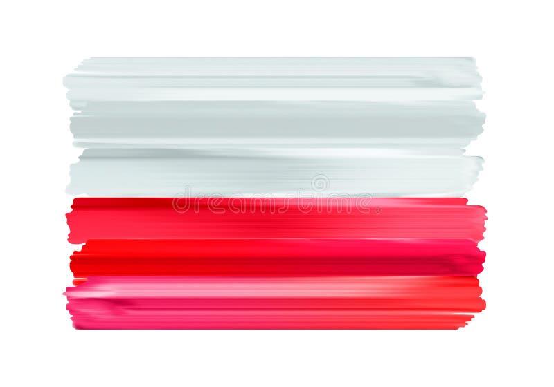 Флаг щетки Польши красочными покрашенный ходами иллюстрация вектора