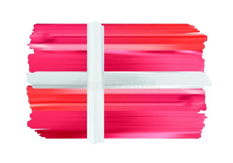 Флаг щетки Дании красочными покрашенный ходами бесплатная иллюстрация