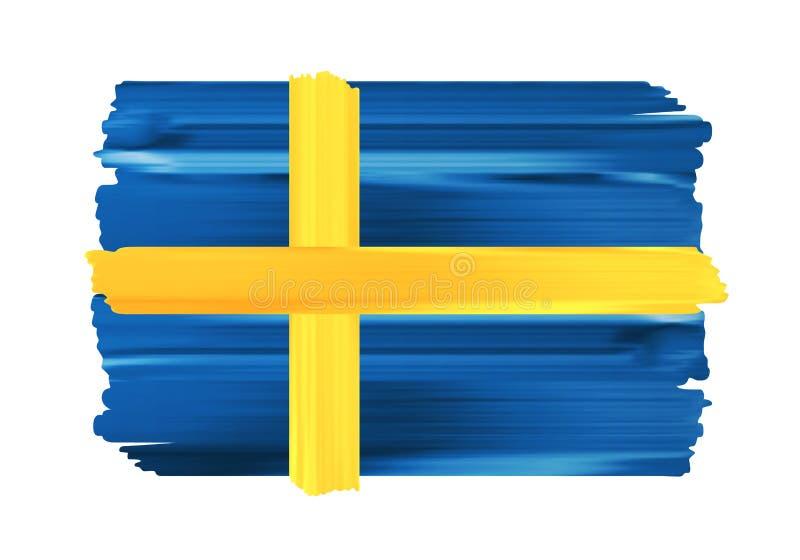 Флаг щетки Швеции красочными покрашенный ходами бесплатная иллюстрация