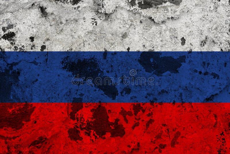 Флаг России на старой стене иллюстрация вектора