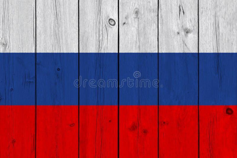 Флаг России покрашенный на старой деревянной планке стоковая фотография