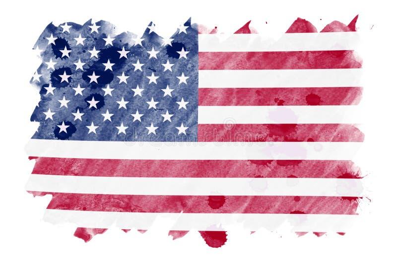 Флаг Соединенных Штатов Америки показан в жидкостном стиле акварели изолированный на белой предпосылке иллюстрация вектора