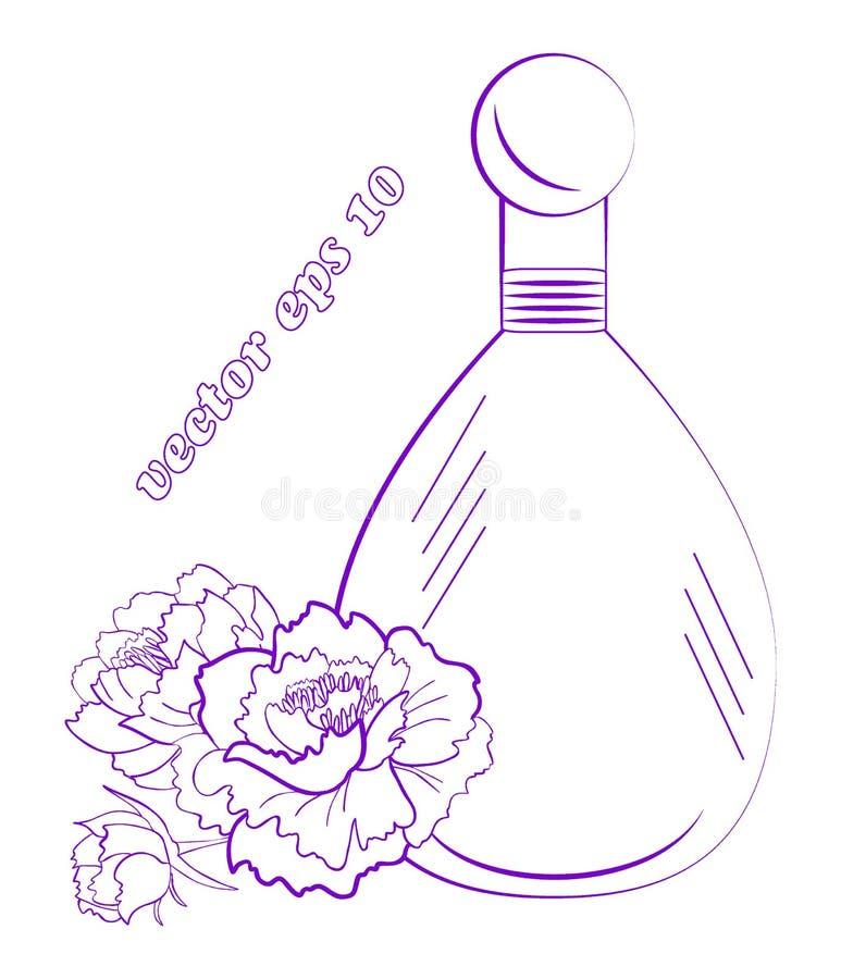 Флакон духов с цветками, бутоном и листьями пиона иллюстрация вектора