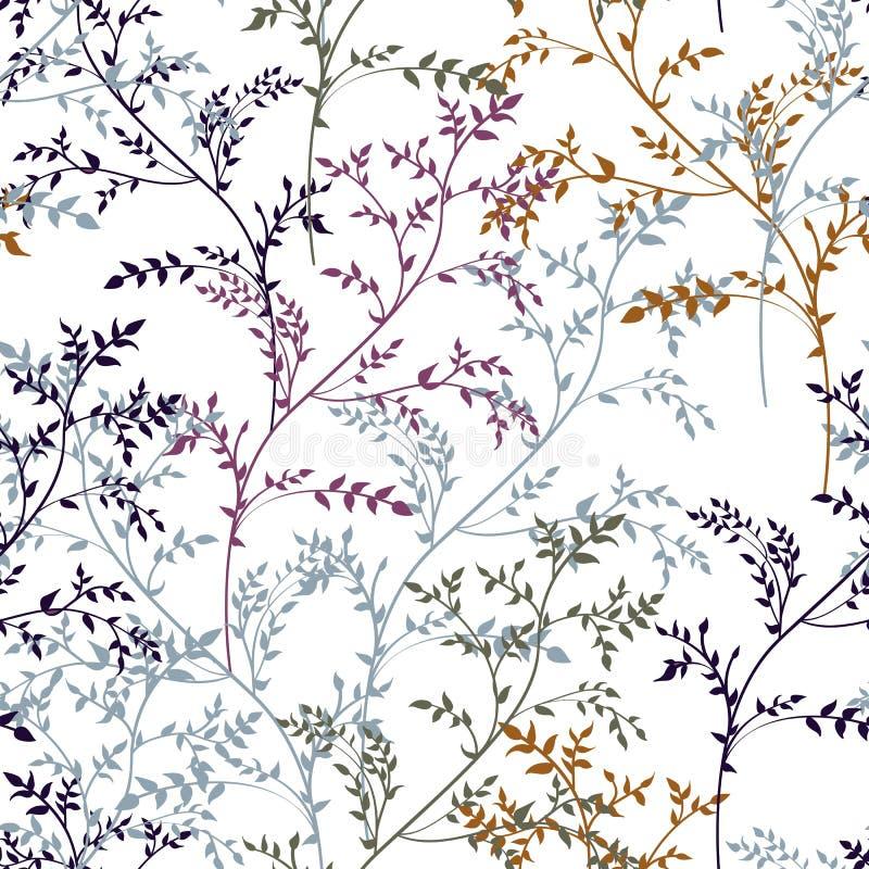 Флористическая абстрактная безшовная картина с линейными заводами и травами в коричневом, желтый, мята, цвета мадженты иллюстрация вектора