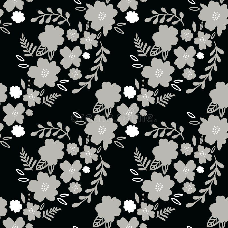 Флористическая Monochrome безшовная картина Довольно серые цветки на черной предпосылке Печатать с малыми белыми цветками Печать  бесплатная иллюстрация