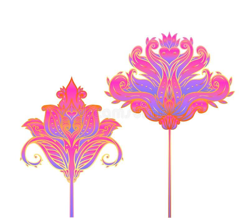 Флористическое Пейсли воодушевило картину индийского вектора красочную богато украшенную безшовную Предпосылка декоративного стил иллюстрация вектора