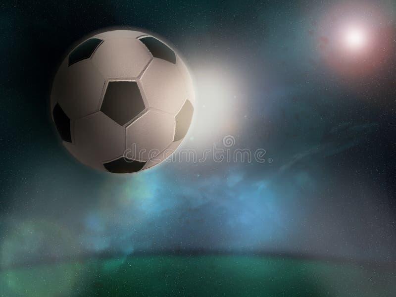 Футбольный мяч в космосе над полем стадиона стоковое фото