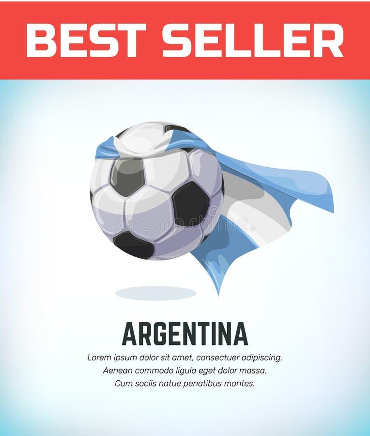 Футбол или футбольный мяч Аргентины Национальная команда футбола также вектор иллюстрации притяжки corel бесплатная иллюстрация