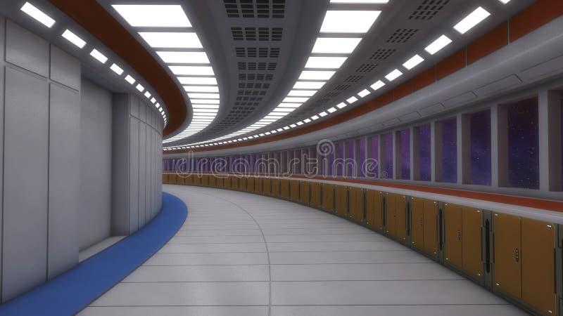 Футуристическая внутренняя архитектура коридора стоковые изображения rf