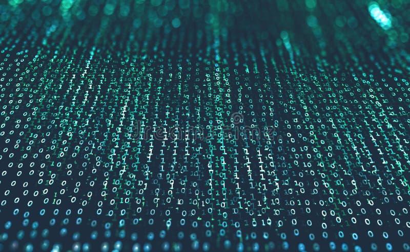 Футуристическая предпосылка с бинарным кодом Защита и обмен данных в глобальной вычислительной сети иллюстрация вектора