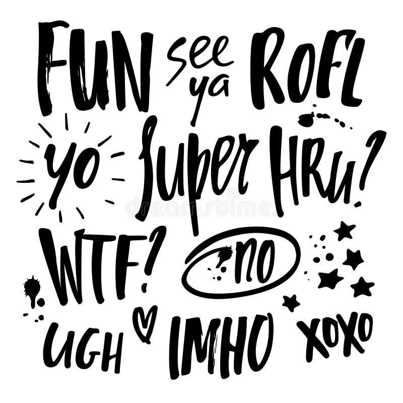 Фразы связи вектора рукописные короткие Цитаты сленга болтовни Grunge бесплатная иллюстрация