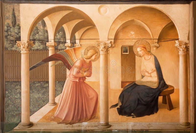 Фреска аннунциация Fra Angelico, в музее Сан Marco, бывший монастырь XV века Dominicans стоковое фото rf