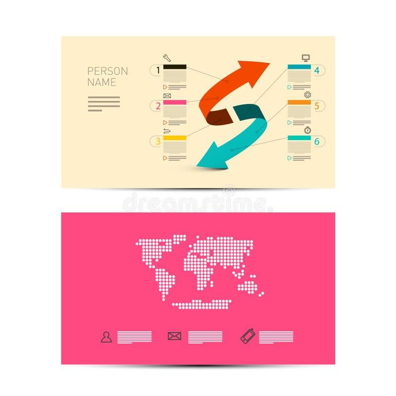 Фронт и задний бумажный план карты приглашения дела иллюстрация вектора