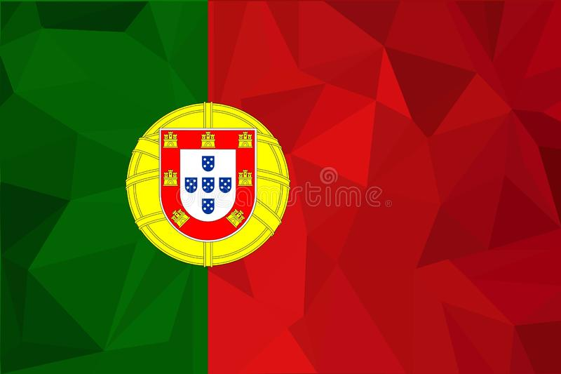 Flag of Portugal. Realistic waving flag of Portuguese Republic. Fabric textured flowing flag of Portugal. royalty free illustration