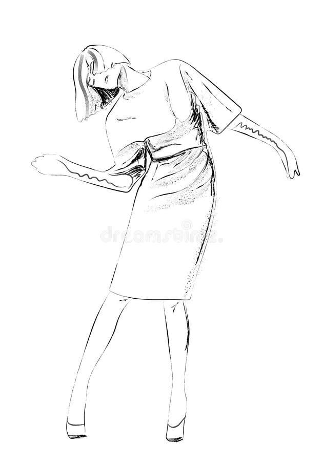 Фотомодели в иллюстрации эскиза платья иллюстрация вектора