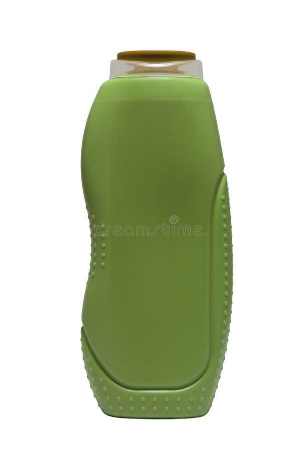 Форма зеленой красной бутылки геля розового ливня вогнутая изолированная на белой предпосылке стоковые фотографии rf