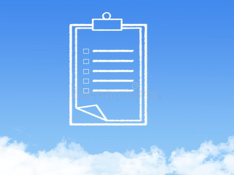 Форма облака печатного документа блокнота стоковые изображения