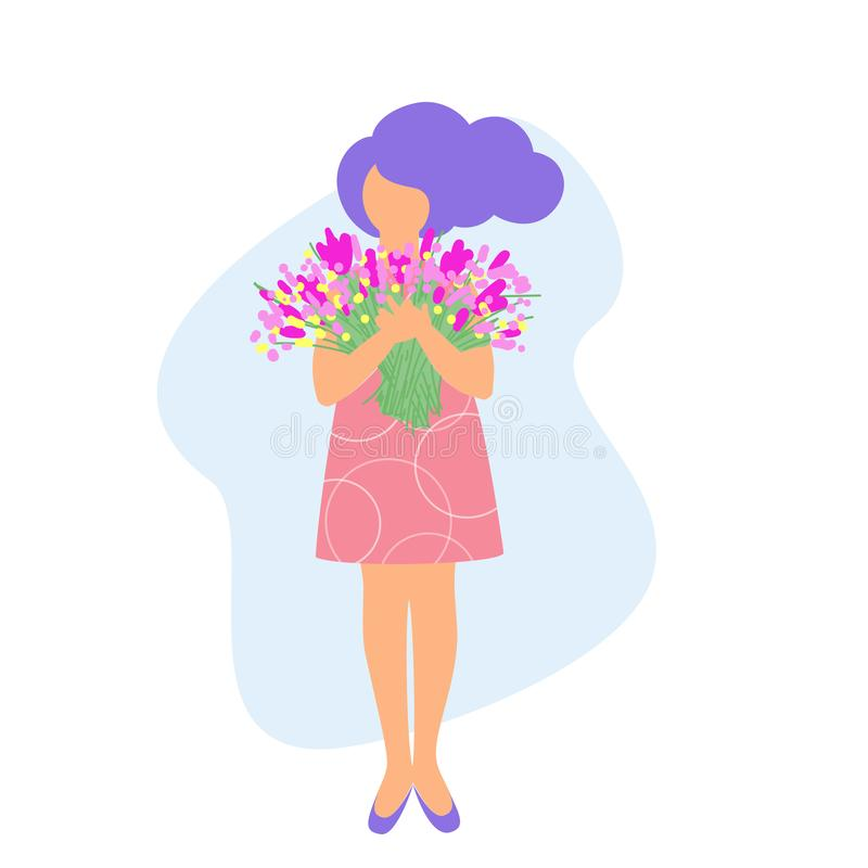 Vector illustration of a girl standing with a big bouquet of flowers, greeting card with women`s day. Flat design royalty free illustration