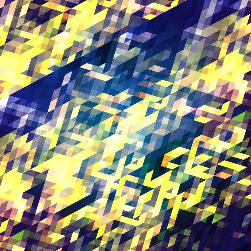 Цвет абстрактной картины tryangle предпосылки голубой и желтый иллюстрация вектора