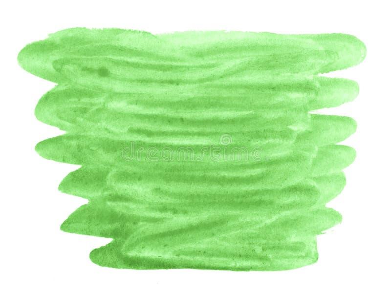 Цвет акварели сочной молодой травы, яркой ой-зелен абстрактной предпосылки, пятна, краски выплеска, пятна, развода Винтажные карт иллюстрация вектора