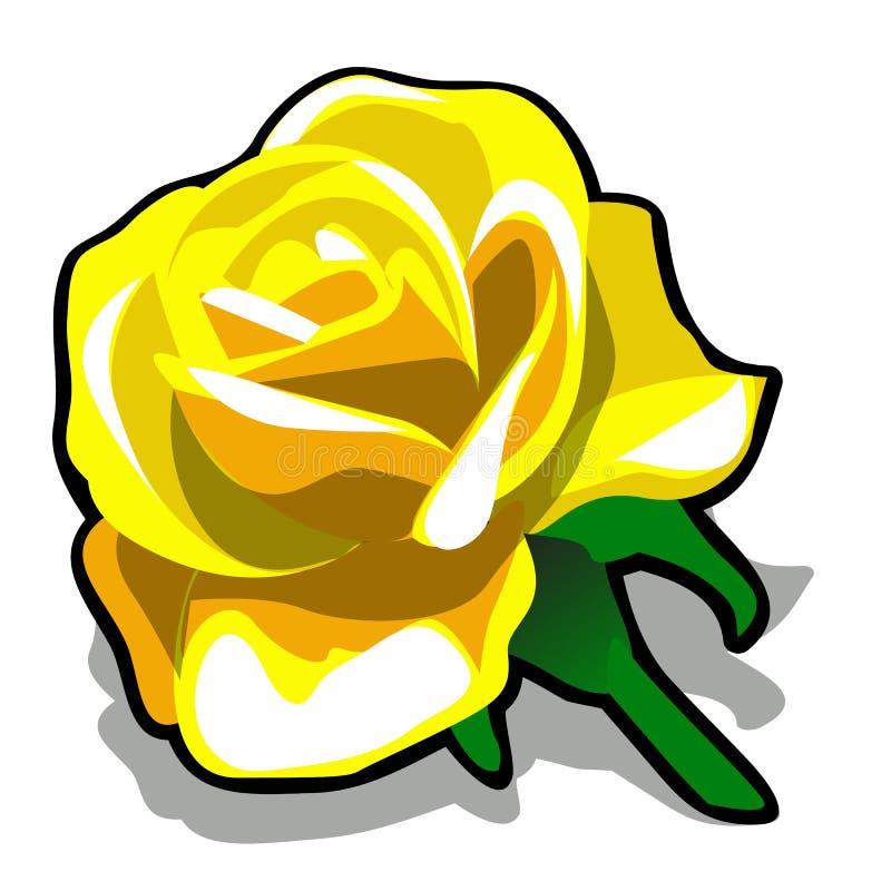 Цвет лимона розового бутона желтый изолированный на белой предпосылке Иллюстрация конца-вверх шаржа вектора иллюстрация штока