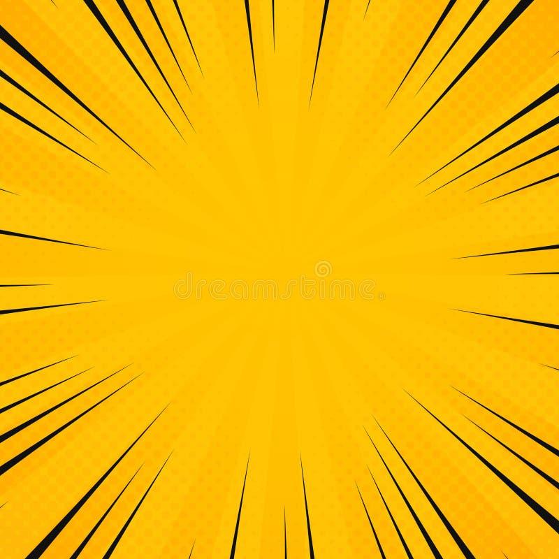 Цвет солнца конспекта желтый в картине лучей сияния с шуточной черной линией предпосылкой Украшение для плаката отправляя SMS, ис иллюстрация вектора
